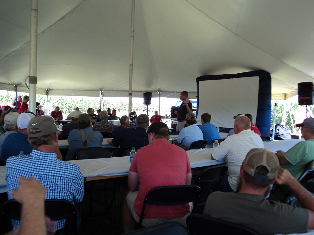 U of I's Aaron Hager (near screen) addresses dicamba issues during the Brandt Agronomy Day near Lexington this week / CIFN photo.
