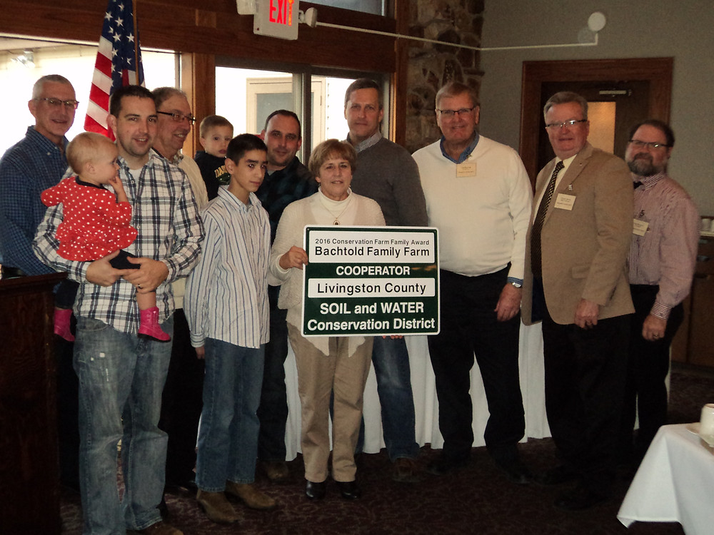The Bachtold family was honored by the LCSWCD in Pontiac last Thursday / CIFN photo.