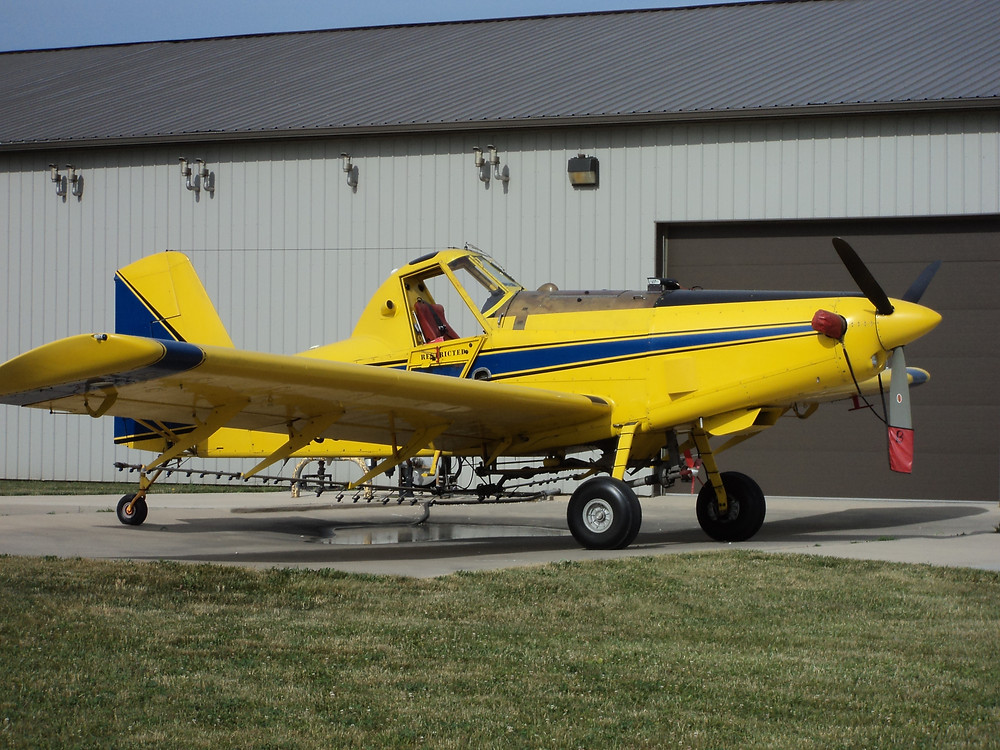 One of Scott Schertz's planes is parked at his Cooksville facility / CIFN photo.