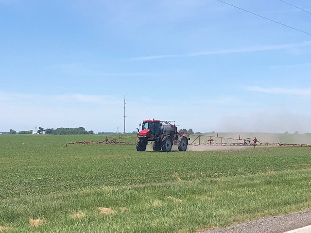 A sprayer is shown in McLean County on Monday afternoon / CIFN photo.