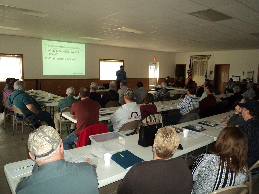 Farmers attended an insurance meeting at the Graymont Town Hall in February / CIFN photo.
