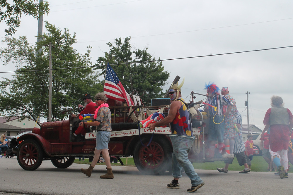 The fire department clowns at a previous Chenoa 4th of July parade / CIFN file photo.
