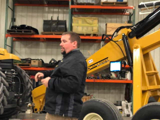 Ryan Zook of Soil-Max speaks at an open house at Nu-Ag Technology in Chatsworth / CIFN photo.