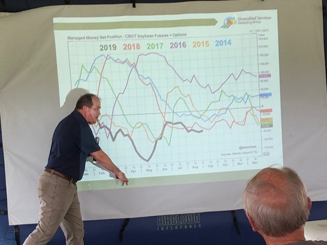 Rich Morrison presents market information during the Brandt field day last week / CIFN photo.