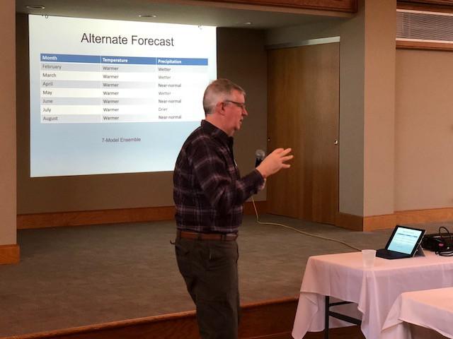 Jim Angel, state climatologist, speaks at the Pontiac Elks Lodge on Tuesday/EOCI photo.