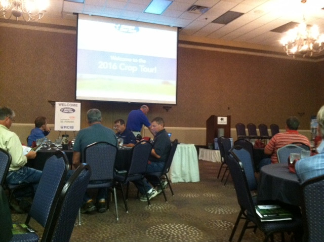Pro Farmer's Midwest Crop Tour stop in Bloomington Tuesday evening / CIFN photo.