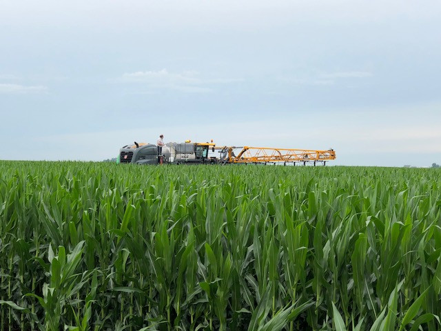 A BCS applicator works in an area cornfield / CIFN photo.