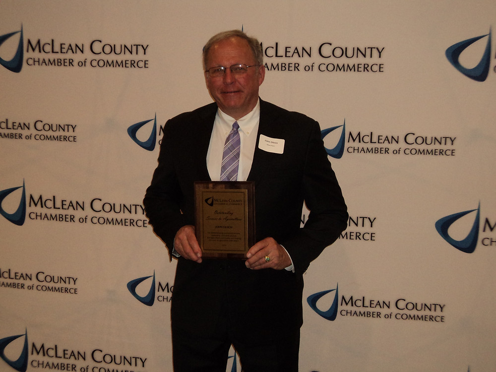 John Olson received the Outstanding Service to Ag Award from the McLean County Chamber Thursday night / CIFN photo.