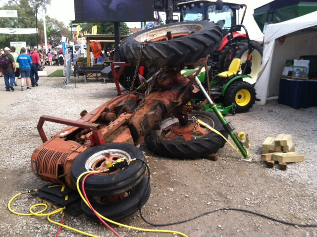 A simulated tractor rollover shown at this year's Illinois State Fair in Springfield / CIFN photo.