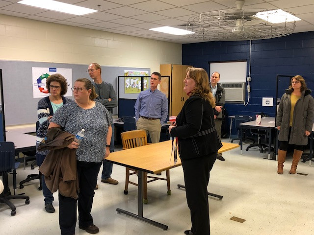 Tonya Dieken gives a tour of the new career lab at Prairie Central High School / EOCI photo.