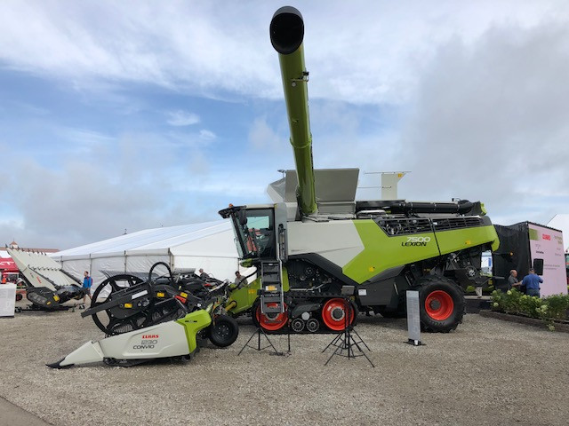 A new combine is shown at Farm Progress Show in Decatur on Tuesday / CIFN photo.