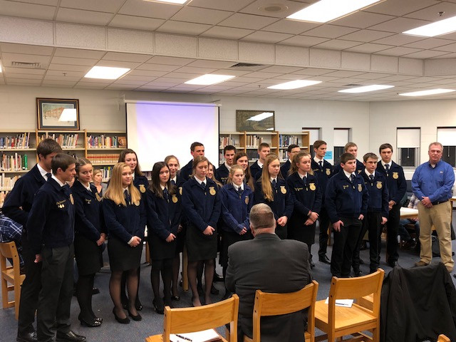 Members of the Prairie Central FFA chapter are recognized at the Dec. school board meeting / CIFN photo.