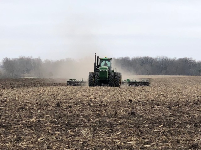 A farmer works ground in Livingston County on Saturday / CIFN photo.
