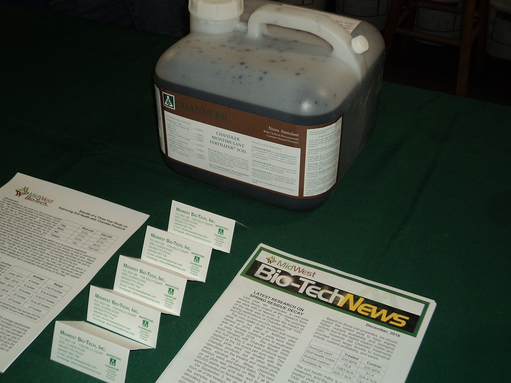 Products from Midwest Bio-Tech, Inc. are displayed at this year's Gordyville farm show / CIFN photo