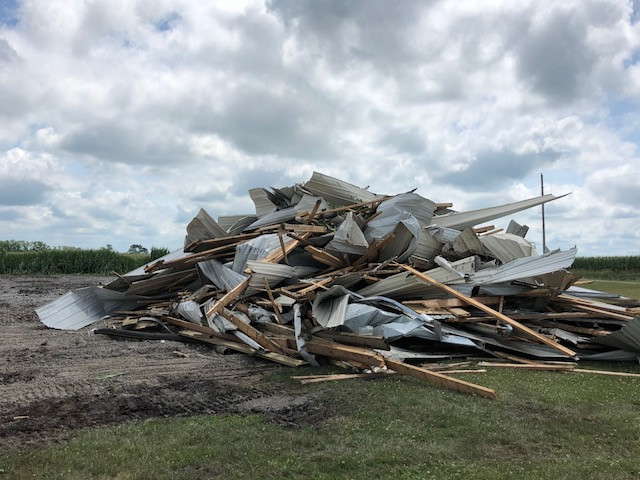 A debris pile is all that's left of a tool shed destroyed by storms near Chatsworth this week.
