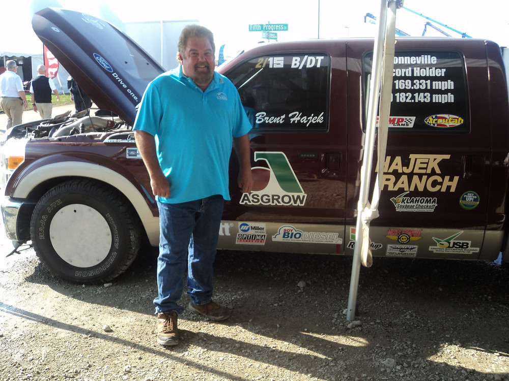 Brent Hajek of Oklahoma promotes biodiesel with his pickup truck / CIFN photo.