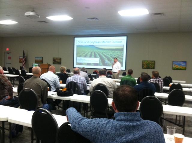 Todd Hubbs talks to farmers at the annual Pioneer FBFM meeting in Bloomington last week / CIFN photo.