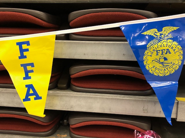 FFA flags are displayed at Normal West High School Saturday afternoon / CIFN photo.
