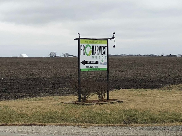 A ProHarvest Seeds sign is shown near the company's headquarters / CIFN photo.