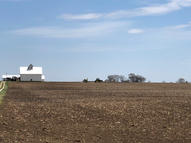 A farmer plants corn north of Pontiac last week / CIFN photo.