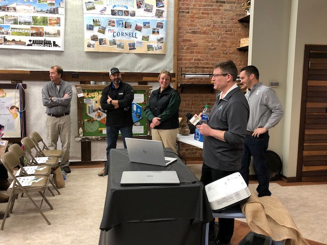 Eric Ifft, Bayer, and others participate in an agronomy panel in Chatsworth last month / CIFN photo.
