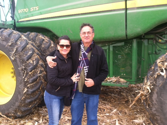 Gunna De Souza and his wife Raquel visit a farm near Pontiac recently / CIFN photo.