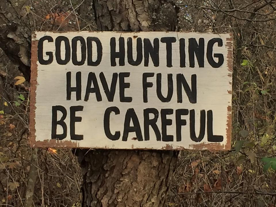 A sign at Kent's late grandfather's timber in western Illinois / photo courtesy of Chris Casson via Facebook.