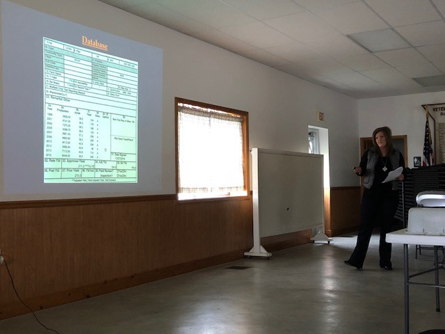 Abby Mays discusses insurance options during a meeting at Graymont this week / CIFN photo.