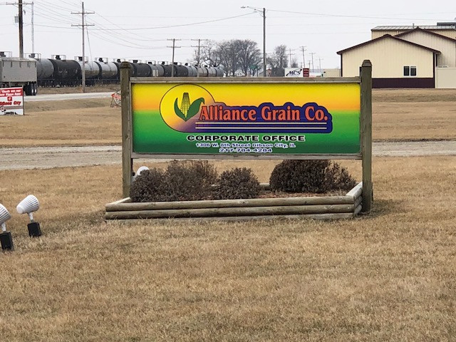 The Alliance Grain company headquarters shown at Gibson City last week / CIFN photo.