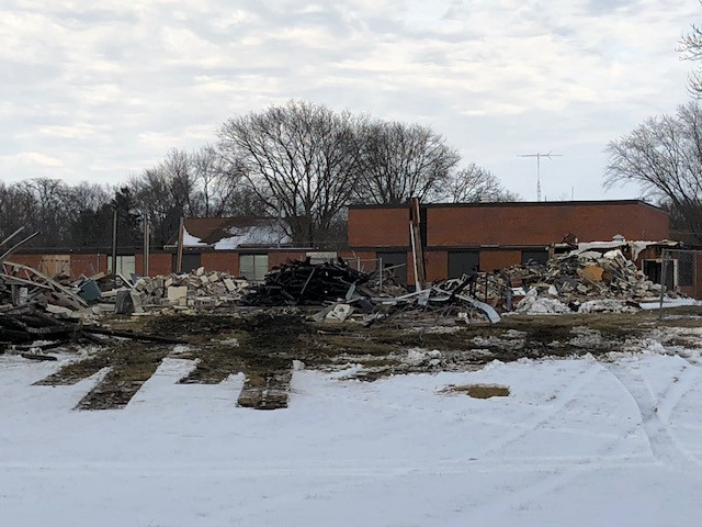 Demolition is underway this week on the old Meadowbrook Elementary in Forrest / EOCI photo courtesy of Rebecca Casson.