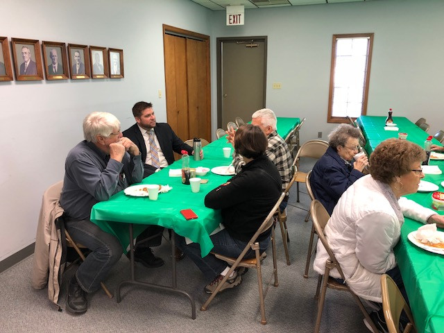 The new Livingston County Farm Bureau manager Chris Bunting chats with members of the public Tuesday morning / CIFN photo.