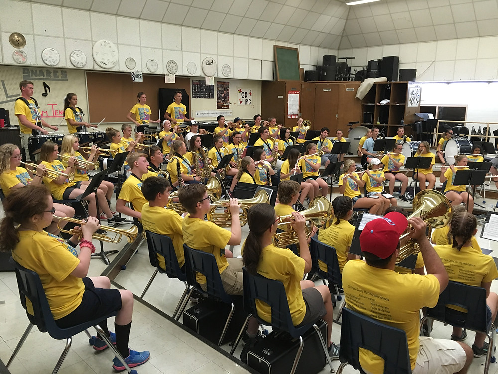 The PCHS band rehearses at the high school / photo courtesy of Eric Hall.