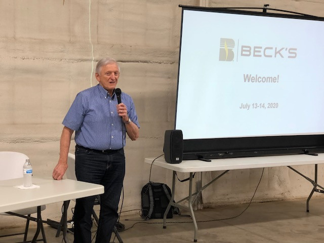 Sonny Beck, Beck's CEO, speaks at the farm of Rich Fox near Saunemin this week / CIFN photo.