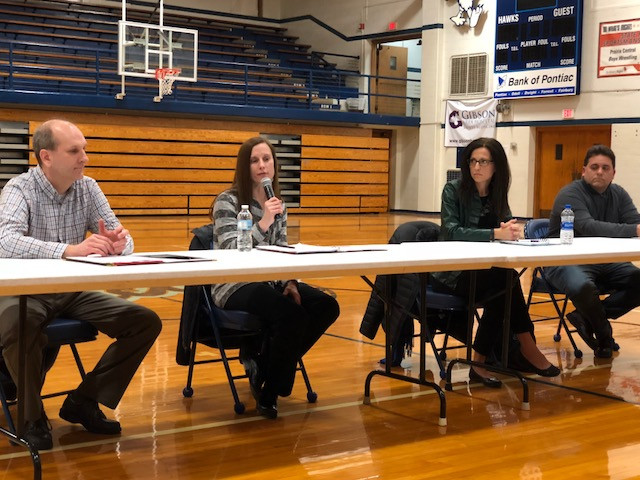 Candidates for the Prairie Central Board of Education speak at a forum Thursday night / EOCI photo.