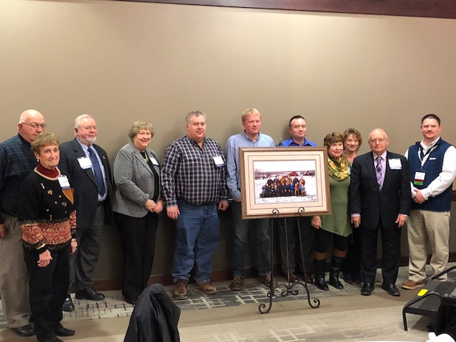 The Bradshaw family is honored at the IPPA luncheon in Springfield Tuesday / CIFN photo.