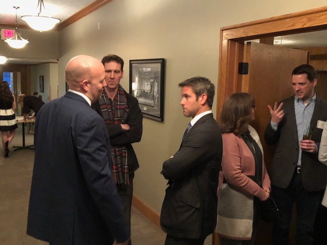 Congressman Adam Kinzinger visits during the Livingston County Republican Lincoln Day Dinner last week in Pontiac / CIFN photo.