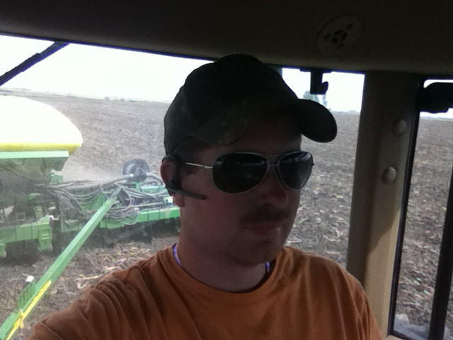 Kent's cab view last week while planting soybeans / CIFN photo.