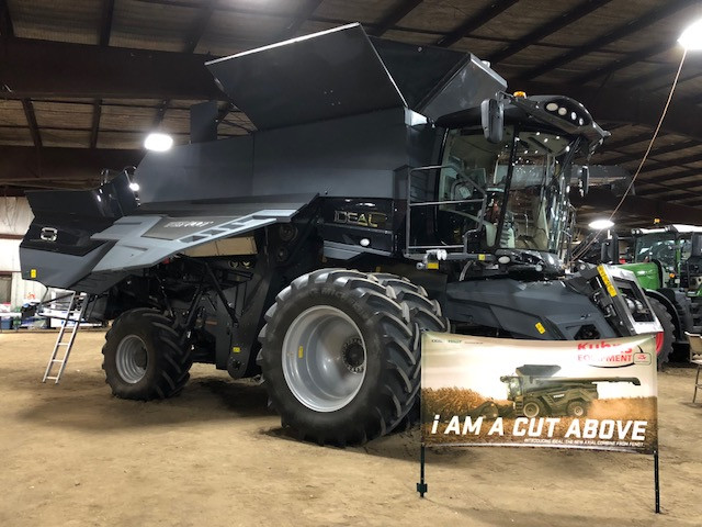 A combine from Kuhns displayed at the Gordyville farm show last year / CIFN file photo.
