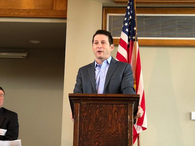 Jason Barickman speaks to members of the Livingston County Farm Bureau Friday morning / EOCI photo.