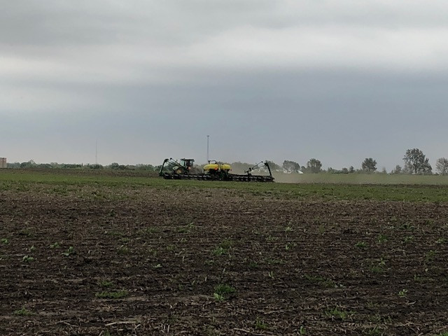 Corn is planted in Livingston County Monday afternoon / CIFN photo.