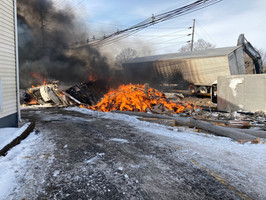 Fire from derailed train reported