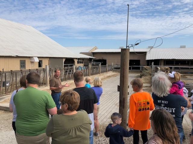 Paul Kilgus gives tours of Kilgus Dairy on Saturday / CIFN photo.