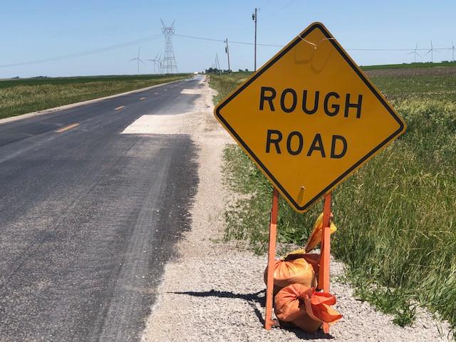 A Rough Road sign shown near Lexington in McLean County last week / CIFN photo.