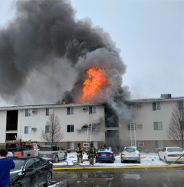 Apartment complex catches fire