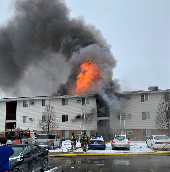 Apartment complex catches fire