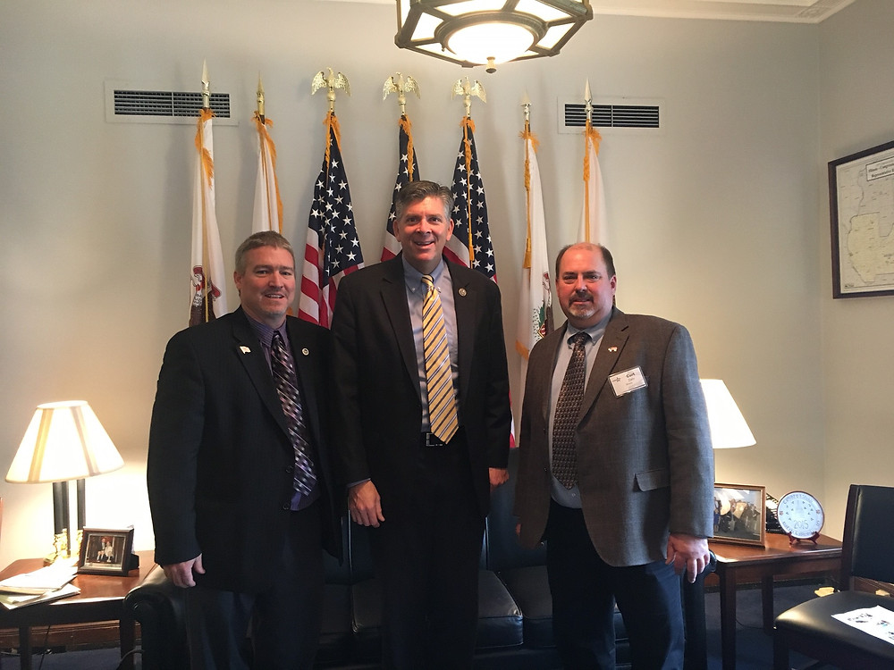 IPPA board members Mike Haag and Curt Zehr meeting with Congressman Darin LaHood (center) to emphasize the importance of pork and trade to the United States. Photo provided by IPPA.
