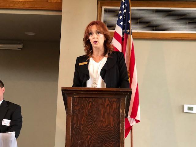 Livingston County Board Chair Kathy Arbogast speaks to the Livingston County Farm Bureau Friday morning / CIFN photo.
