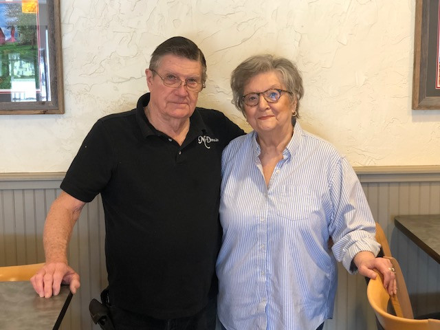 Ron and Sue McDonald pose this week in the dining room of McDonald's Family Restaurant in Fairbury / EOCI photo.