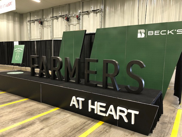 A sign displayed Thursday at the Beck's Hybrids Central Illinois Field Show in El Paso / CIFN photo.
