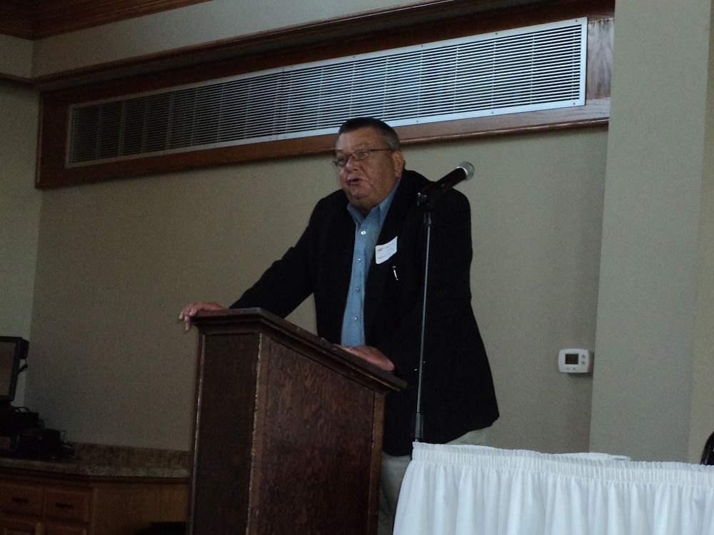 Livingston County Board Chair Bob Young speaks at the Legislative Breakfast in Pontiac Friday / CIFN photo